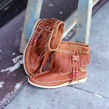 Buyamba Anthropologie Womens Moccasin Boot 7 Brown Leather Free People $160