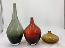 Ruby Red Ash Green and Amber Ball Orb Shape Glass Vases Art Deco Style