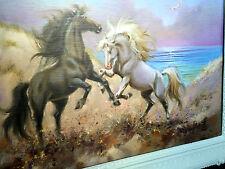 CABALLOS cuadro 90x70 Negro Hank Barroco Mural T2