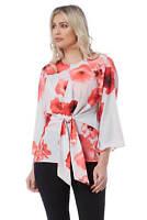 Roman Originals Women's Red Poppy Print Tie Front Top Sizes 10-20