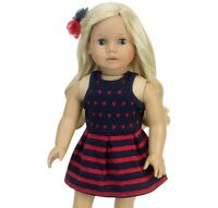 "Red and Navy Dress Fits American Girl 18"" Doll Clothes"