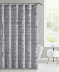 "NEW Mainstays Gray White Minnow Stripe Seersucker Fabric Shower Curtain 70""x 72"""