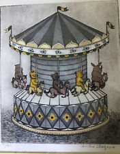 CHRISTINE CHAGNOUX Bears Carousel hand-colored etching Signed, Numbered Framed