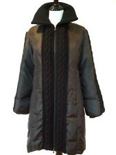 Guess Womens Black Down Cluster Feather Knit Detail Parka Size Large