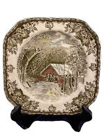 The Friendly Village by Johnson Brothers Square Salad Plate Covered Bridge