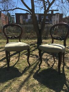 Scottish Victorian Mahogany Balloon-backed Dining room Chairs - Two