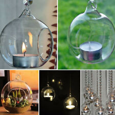 Crystal Glass Hanging Candle Holder Candlestick Xmas Wedding Party Dinner Decor 8cm