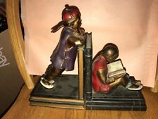 Vintage Ronson Chinese Students Bronze Bookends Great Paint