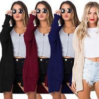 Women Long Sleeve Loose Sweater Knitted Cardigan Coat Jacket Pocket Outwear Tops