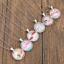 Flamingo Lotus Fairyland Cabochon Necklace Tibet Dome Glass Pendant Jewelry Gift
