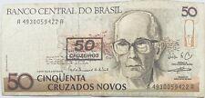 50 Brazilian Cruzados Novos Cruzerios Overprint (Pre-Reais) Brazil Banknote 1990