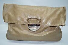 Cynthia Rowley Taupe Genuine Glazed Leather Large Pushlock Flap Clutch Purse