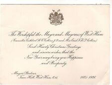 VINTAGE CHRISTMAS GREETING CARD WORSHIPFUL MAYOR WEST HAM 1935/36