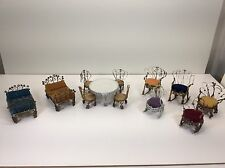 Vintage Tin Can dollhouse furniture (Lot Of 12) 2 Beds/Table & 4 Chairs/5 Chairs