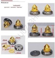 16x Spike Cone 16x Black Base Pad Shoe Isolation Turntable Speaker HiFi KIT SET
