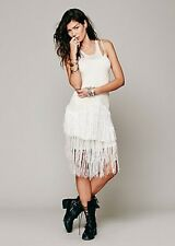 NIP Intimately FREE PEOPLE Fancy Fringe Swit Slip Dress Sequins Sheer S