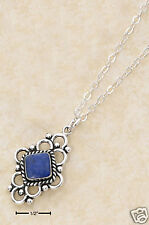 """STERLING SILVER 18"""" Chain with DENIM LAPIS LOOP PEND."""