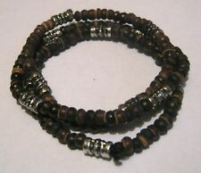 Lovely 3x elasticated bracelet beaded wooden or seed silver tone spacers