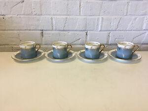 Vintage Antique Aynsley Set of 4 Cups & Saucers w/ Blue & Gold Decoration