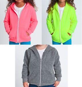 New American Apparel F197 Kids Flex Fleece Zip Hoody Warm Soft Made in US