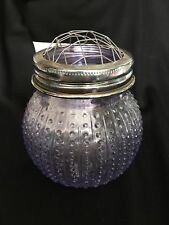 "Farmhouse GLASS VASE with GRID frog top~4"" tall ~ lavender"