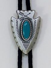 Western Bolo Tie/ Arrow Head/Silver with Turquoise Stone