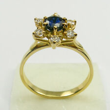 Deep Blue Sapphire Diamond Halo Engagement Ring Genuine 750 18k Yellow Gold