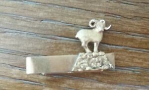 Vintage 10K Yellow Gold Bar Tie Clip Men's Jewelry Ram On Hill Sheep