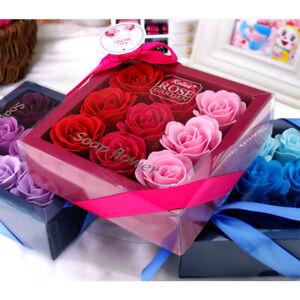 Handmade Soap Flower Bouquet Roses Carnations Gift Box Wedding Home B2X