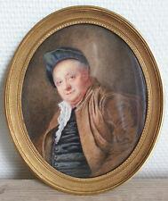 RARE GRANDE MINIATURE PEINTURE XIXe Portrait Etienne Jeaurat d'après J-B GREUZE