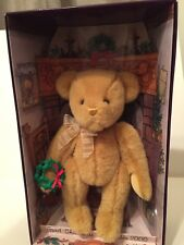 "9"" Gund Bear Christmas Collectible 2000 w/ holly wreath in box; light gold w/bow"