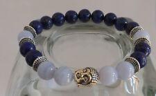 Lapis Lazuli Blue Lace Agate Grade AA Gemstone Buddha Yoga Bracelet Stacking