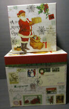 Set of Two Large Punch Studio Vintage Santa Christmas Nesting/Stacking Boxes