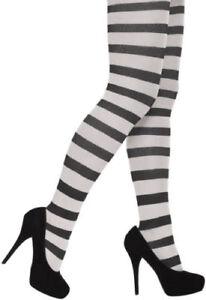 Ladies Striped Tights Fancy Dress Stripe Halloween Christmas Elf Wally