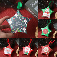 10Pcs Christmas Gift Boxes Sweet Candy Paper Bags Xmas Party Tree Hanging Decors