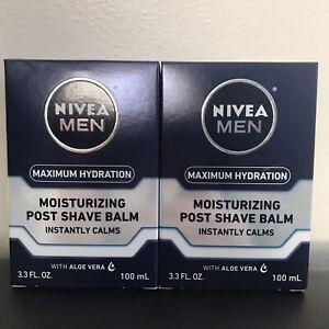 Lot of 2 - NIVEA MEN Moisturizing Post Shave Balm Maximum Hydration 3.3 OZ.
