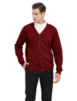 TOPTIE Mens Sweater V Neck Button Cardigan Long Sleeve Basic Knit Work Casual
