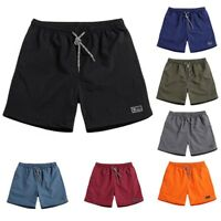 Men's Summer Beach Shorts Quick Dry Casual Drawstring Pocket Solid Plus Size  US