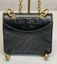 TORY BURCH Alexa Mini Leather Chain Crossbody Shoulder Bag Purse Black EUC