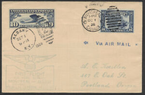 1928 AAMC #2847 Dual Franking On Montreal to Albany Flight, Onward to Portland