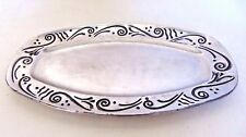 "Lenox Spyro Large Silver Metal Oblong Oval Platter Serving Tray 15.5"" X 9"""