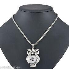 5 Collier Pendentif Chaîne Hibou Blanc Strass Pr Bouton Pression DIY 58cm