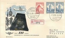 CENSORED SAS Denmark to Baghdad = Blacked out cachet 1955 First Flight RARE!
