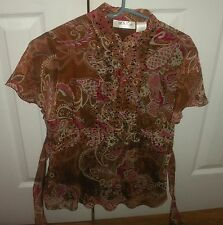 WOMEN'S SIZE LARGE BLOUSE BY HEIRLOOM LIMITED SHEER WITH LINING TIE BACK SEQUINS