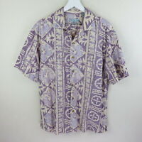 Batik Bay Cream/Purple Reverse Print Hawaiian Shirt - Men's L
