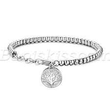 Women's Stainless Steel Tree of Life Tag Charms Beaded Chain Bracelet Adjustable