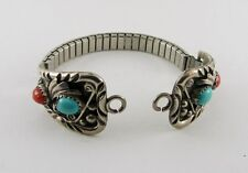 Vintage 925 Sterling Silver Watch Band Turquoise Coral