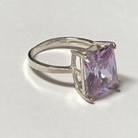 STERLING SILVER 925 Lavender Amethyst RING Large Solitaire SZ 7.5