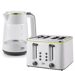 Beko Kettle and Toaster Set WKM6321W Illuminating Kettle TAM4341 4 Slice Toaster