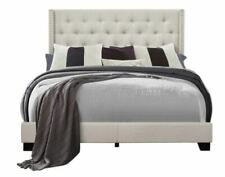Queen Bed Frame Complete Set Rails Upholstered Headboard Bedroom Furniture Beige